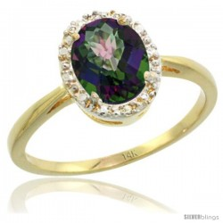 14k Yellow Gold Mystic Topaz Diamond Halo Ring 1.17 Carat 8X6 mm Oval Shape, 1/2 in wide