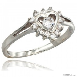 Highest Quality Sterling Silver 3/8 in (10 mm) wide Heart Cluster Stone Ring, Brilliant Cut CZ Stones