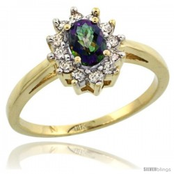 14k Yellow Gold Mystic Topaz Diamond Halo Ring Oval Shape 1.2 Carat 6X4 mm, 1/2 in wide