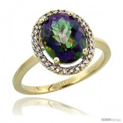 14k Yellow Gold Diamond Halo Mystic Topaz Ring 2.4 carat Oval shape 10X8 mm, 1/2 in (12.5mm) wide