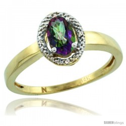14k Yellow Gold Diamond Halo Mystic Topaz Ring 0.75 Carat Oval Shape 6X4 mm, 3/8 in (9mm) wide
