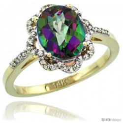 14k Yellow Gold Diamond Halo Mystic Topaz Ring 1.65 Carat Oval Shape 9X7 mm, 7/16 in (11mm) wide