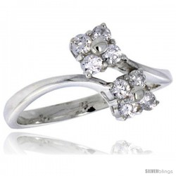 Highest Quality Sterling Silver 1/2 in (11 mm) wide Floral Stone Ring, Brilliant Cut CZ Stones