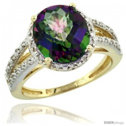 14k Yellow Gold Diamond Halo Mystic Topaz Ring 2.85 Carat Oval Shape 11X9 mm, 7/16 in (11mm) wide