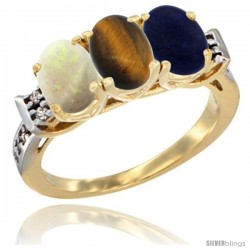 10K Yellow Gold Natural Opal, Tiger Eye & Lapis Ring 3-Stone Oval 7x5 mm Diamond Accent