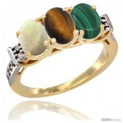 10K Yellow Gold Natural Opal, Tiger Eye & Malachite Ring 3-Stone Oval 7x5 mm Diamond Accent