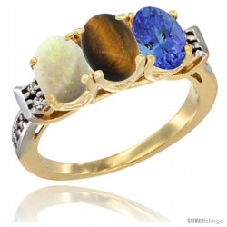10K Yellow Gold Natural Opal, Tiger Eye & Tanzanite Ring 3-Stone Oval 7x5 mm Diamond Accent