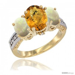 10K Yellow Gold Ladies 3-Stone Oval Natural Whisky Quartz Ring with Opal Sides Diamond Accent