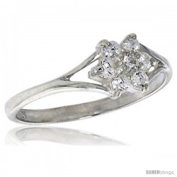 Highest Quality Sterling Silver 1/4 in (6 mm) wide Flower Stone Ring, Brilliant Cut CZ Stones