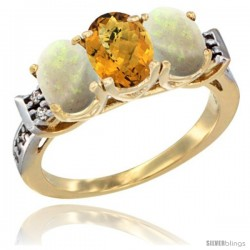10K Yellow Gold Natural Whisky Quartz & Opal Sides Ring 3-Stone Oval 7x5 mm Diamond Accent