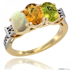 10K Yellow Gold Natural Opal, Whisky Quartz & Lemon Quartz Ring 3-Stone Oval 7x5 mm Diamond Accent