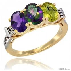 10K Yellow Gold Natural Amethyst, Mystic Topaz & Lemon Quartz Ring 3-Stone Oval 7x5 mm Diamond Accent