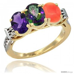 10K Yellow Gold Natural Amethyst, Mystic Topaz & Coral Ring 3-Stone Oval 7x5 mm Diamond Accent