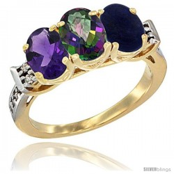 10K Yellow Gold Natural Amethyst, Mystic Topaz & Lapis Ring 3-Stone Oval 7x5 mm Diamond Accent