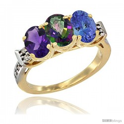 10K Yellow Gold Natural Amethyst, Mystic Topaz & Tanzanite Ring 3-Stone Oval 7x5 mm Diamond Accent