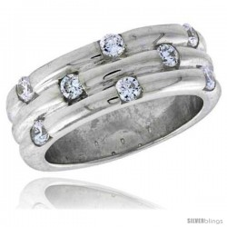 Highest Quality Sterling Silver 5/16 in (8 mm) wide Grooved Stone Band, Brilliant Cut CZ Stones