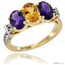 10K Yellow Gold Natural Citrine & Amethyst Sides Ring 3-Stone Oval 7x5 mm Diamond Accent