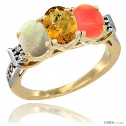 10K Yellow Gold Natural Opal, Whisky Quartz & Coral Ring 3-Stone Oval 7x5 mm Diamond Accent