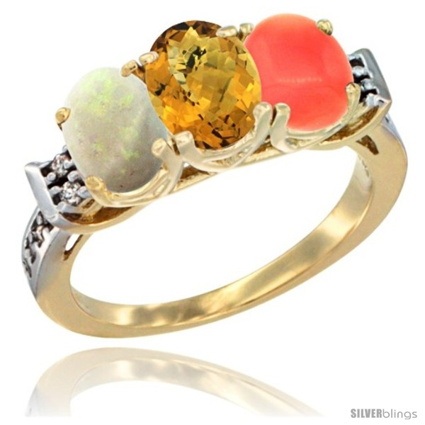 https://www.silverblings.com/39924-thickbox_default/10k-yellow-gold-natural-opal-whisky-quartz-coral-ring-3-stone-oval-7x5-mm-diamond-accent.jpg