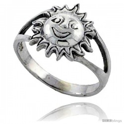 Sterling Silver Large Sun Ring 7/16 in wide