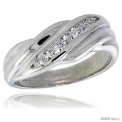 Highest Quality Sterling Silver 5/16 in (8 mm) wide Wedding Band, Brilliant Cut CZ Stones