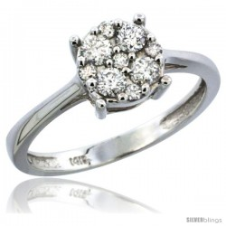 10k White Gold Round Cluster Diamond Engagement Ring w/ 0.37 Carat Brilliant Cut Diamonds, 9/32 in. (7.5mm) wide