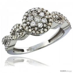 10k White Gold Floral Cluster Diamond Engagement Ring w/ 0.54 Carat Brilliant Cut Diamonds, 3/8 in. (9.5mm) wide