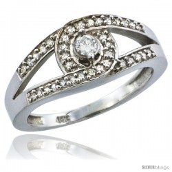 10k White Gold Loop Knot Diamond Engagement Ring w/ 0.27 Carat Brilliant Cut Diamonds, 5/16 in. (8.5mm) wide