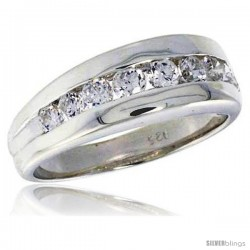 Highest Quality Sterling Silver 1/4 in (7 mm) wide Wedding Band, Channel Set Brilliant Cut CZ Stones
