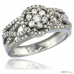 10k White Gold Floral Cluster Diamond Engagement Ring w/ 0.69 Carat Brilliant Cut Diamonds, 3/8 in. (10mm) wide