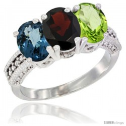 14K White Gold Natural London Blue Topaz, Garnet & Peridot Ring 3-Stone 7x5 mm Oval Diamond Accent