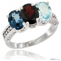 14K White Gold Natural London Blue Topaz, Garnet & Aquamarine Ring 3-Stone 7x5 mm Oval Diamond Accent