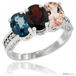 14K White Gold Natural London Blue Topaz, Garnet & Morganite Ring 3-Stone 7x5 mm Oval Diamond Accent