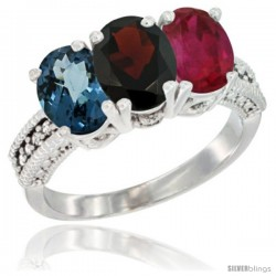14K White Gold Natural London Blue Topaz, Garnet & Ruby Ring 3-Stone 7x5 mm Oval Diamond Accent