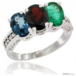 14K White Gold Natural London Blue Topaz, Garnet & Emerald Ring 3-Stone 7x5 mm Oval Diamond Accent