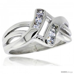 Highest Quality Sterling Silver 1/2 in (12 mm) wide Knot Ring, Brilliant Cut CZ Stones