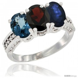 14K White Gold Natural London Blue Topaz, Garnet & Blue Sapphire Ring 3-Stone 7x5 mm Oval Diamond Accent