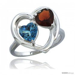 14k White Gold 2-Stone Heart Ring 6mm Natural London Blue Topaz & Garnet Diamond Accent