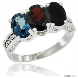 14K White Gold Natural London Blue Topaz, Garnet & Black Onyx Ring 3-Stone 7x5 mm Oval Diamond Accent