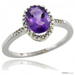 10k White Gold Diamond Amethyst Ring 1.17 ct Oval Stone 8x6 mm, 3/8 in wide