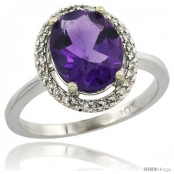 10k White Gold Diamond Amethyst Ring 2.4 ct Oval Stone 10x8 mm, 1/2 in wide -Style Cw901114