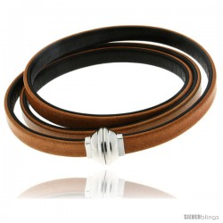 Surgical Steel Italian Leather Wrap Massai Bracelet Double-Sided w/ Super Magnet Clasp, Color Tan & Brown.