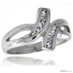 Highest Quality Sterling Silver 1/12 in (13 mm) wide Knot Ring, Brilliant Cut CZ Stones