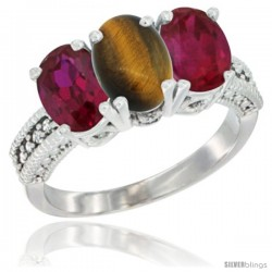 14K White Gold Natural Tiger Eye & Ruby Sides Ring 3-Stone 7x5 mm Oval Diamond Accent