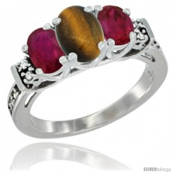 14K White Gold Natural Tiger Eye & Ruby Ring 3-Stone Oval with Diamond Accent