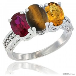 14K White Gold Natural Ruby, Tiger Eye & Whisky Quartz Ring 3-Stone 7x5 mm Oval Diamond Accent