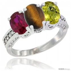 14K White Gold Natural Ruby, Tiger Eye & Lemon Quartz Ring 3-Stone 7x5 mm Oval Diamond Accent