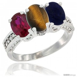 14K White Gold Natural Ruby, Tiger Eye & Lapis Ring 3-Stone 7x5 mm Oval Diamond Accent