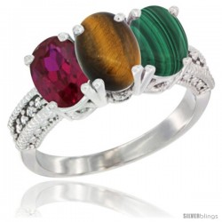 14K White Gold Natural Ruby, Tiger Eye & Malachite Ring 3-Stone 7x5 mm Oval Diamond Accent