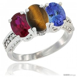 14K White Gold Natural Ruby, Tiger Eye & Tanzanite Ring 3-Stone 7x5 mm Oval Diamond Accent